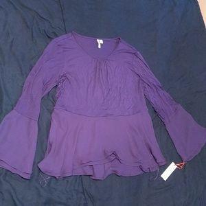 NWT purple Bell sleeve top